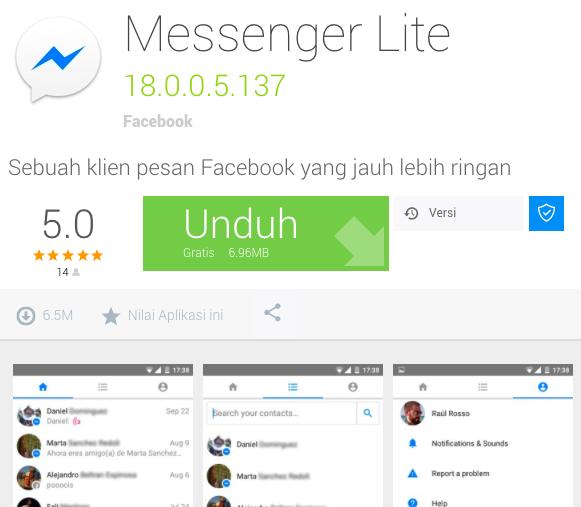 Cara Menggunakan Facebook Messenger Lite Lebih Hemat Data